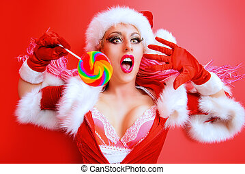 flashy makeup - Expressive sexual girl in Santa Claus...