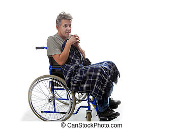 Man on wheelchair - man on wheelchair isolated on white