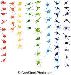Set of color watercolor blots