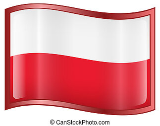 Poland Flag Icon, isolated on white background
