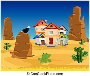Village on dick west - Vector illustration of the village on...