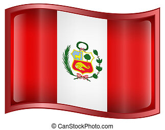 Peru Flag Icon, isolated on white background