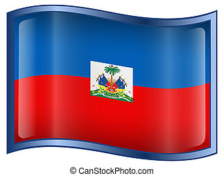 Haiti Flag Icon, isolated on white background.