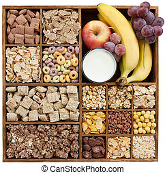 assorted cereals in wooden box