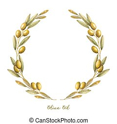 Watercolor olive branch wreath Hand drawn natural vector...