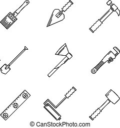 Contour vector icons for hand tools - Set of black contour...