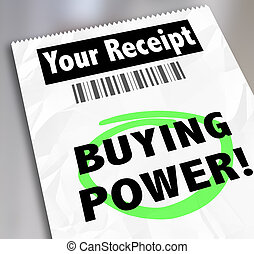 Buying Power Words Paper Receipt Purchase Shopping Saving...