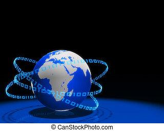 global communication - 3d rendered illustration of a globe...