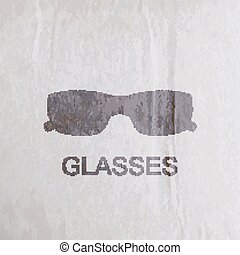 vector illustration of engraving glasses on the old wrinkled pap