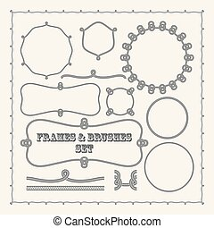 Set of vector frame templates and rope brushes design...