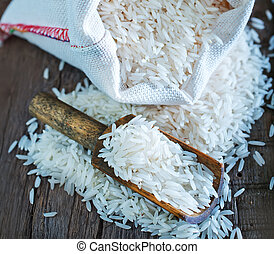 raw rice in bag and on a table