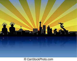 Jakarta in Silhouette - Cityscape in the morning