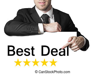 businessman pointing on sign best deal - businessman in...