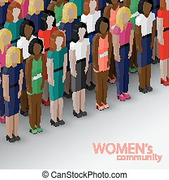 vector 3d isometric illustration of women community with a...