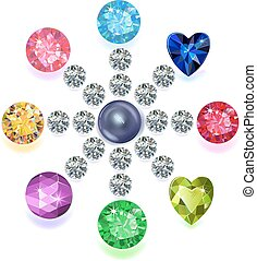 Round composition colored gems set - Set of colored located...