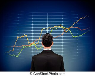 businessman stands in front of forex chart over blue...