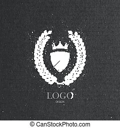 vector illustration with engraving laurel wreath, ribbon and...