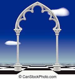 Gothic arch against a blue sky background and checkerboard...
