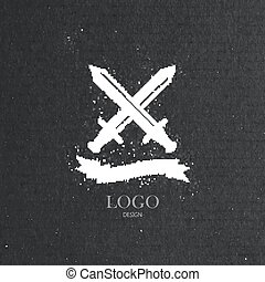 vector illustration with engraving crossing swords and ribbon  i