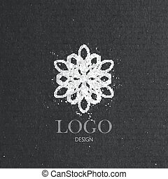 vector illustration with a graceful snowflake on cardboard...