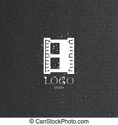 vector illustration with engraving film strip icon in flat...