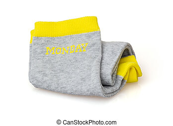 Isolated trendy wool socks with inscription MONDAY - Trendy...