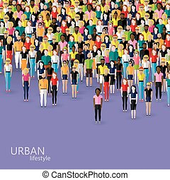 vector flat illustration of society members with a crowd of men