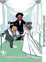Happy wedding greeting card. Vector illustration - jewish...