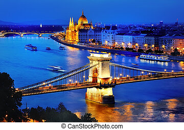 Panorama of Budapest, Hungary, with Danube river, Chain...