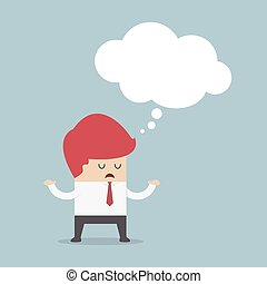 Bored businessman with blank speech bubble, VECTOR, EPS10
