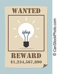 Wanted poster with light bulb idea, VECTOR, EPS10