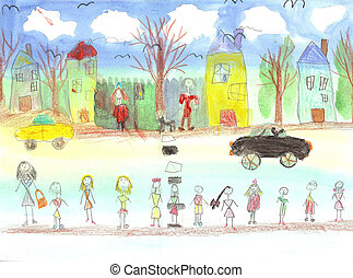 Watercolor children drawing kids Walking - Watercolor...