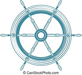 helm boat - Old steering wheel isolated, excellent vector...