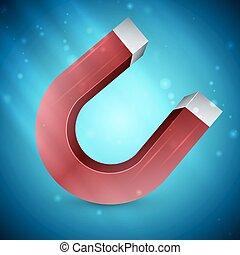 magnet - Horseshoe magnet isolated on white background,...