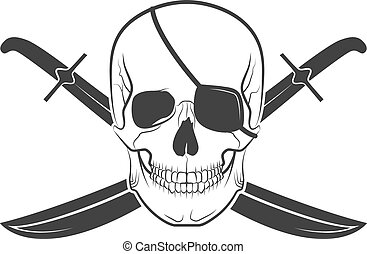 skull pirate - Human skull on isolated white background,...