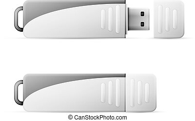 USB Flash Drive - Vector USB Flash Drive isolated on white...