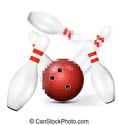 Bowling pin - excellent vector illustration, bowling ball...