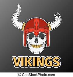 skull viking - Human skull in red hat, excellent vector...