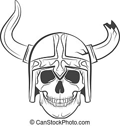 skull viking - Human skull on isolated white background,...
