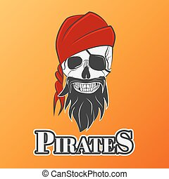 skull pirate - Human skull in red hat, excellent vector...