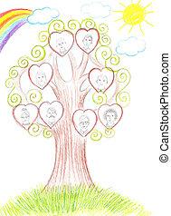 crianças, desenho, família, genealogical, árvore,