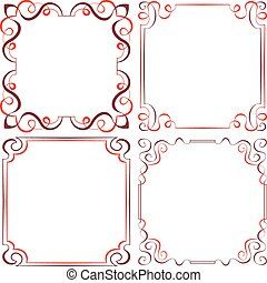 Set of different vector decorative frames - Set of four...