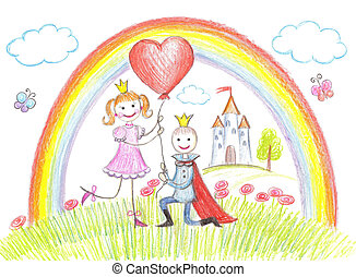 Happy princess from a fairy tale - Princess and prince from...
