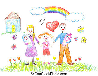 Happy family with children and infants - Happy family with...