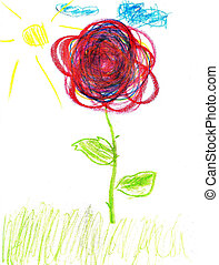 Cute kids drawing of a flower