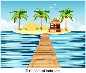 Wooden bridge to tropical island - Tropical island in ocean...