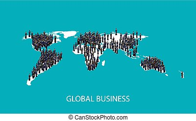 vector 3d isometric illustration of business people standing on