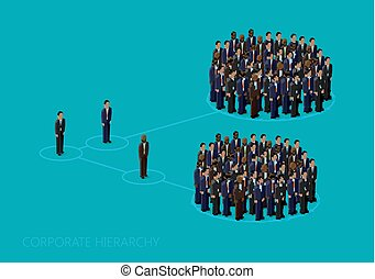 vector 3d isometric illustration of a corporate hierarchy...