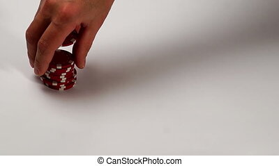 Poker Chips Fall in Origami Paper Box
