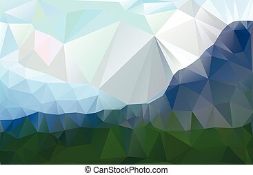 landscape in a minimalist style Triangular pattern Vector...